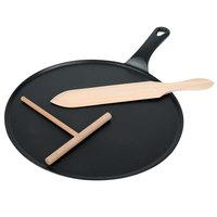 Matfer Bourgeat 071122 11 3/4 inch Cast Iron Crepe Pan with Beech Wood Spatula and Scraper