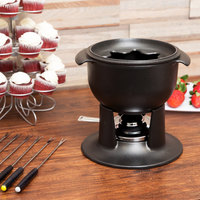 Matfer Bourgeat 070971 1 Qt. Enameled Mini Cast Iron Fondue Pot with Forks