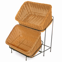 Honey-Colored Polypropylene 9 1/4 inch x 13 inch Basket with Black Metal Rack