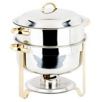 Choice 14 Qt. Deluxe Round Gold Accent Soup Chafer
