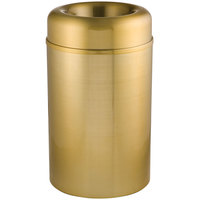 Rubbermaid FGAOT30SBPL Crowne Satin Brass Round Open Top Steel Waste Receptacle with Rigid Plastic Liner 30 Gallon