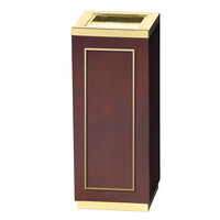 Rubbermaid DW12SUT Accents Square Mahogany and Brass Waste Receptacle with Ash Tray and Galvanized Steel Liner 5 Gallon (FGDW12SUTMAH)