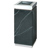 Rubbermaid DM12T Accents Marquina Black Square Marble and Steel Waste Receptacle with Galvanized Steel Liner 5 Gallon (FGDM12TMBM)