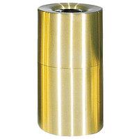 Rubbermaid FGAOT35SB Atrium Satin Brass 2-Piece Round Open Top Aluminum Waste Receptacle 35 Gallon