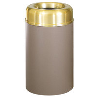 Rubbermaid FGAOT30SBBRPL Crowne Textured Brown with Brass Accents Round Open Top Steel Waste Receptacle with Rigid Plastic Liner 30 Gallon