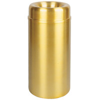 Rubbermaid AOT15 Crowne Satin Brass Round Open Top Steel Waste Receptacle with Rigid Plastic Liner 15 Gallon (FGAOT15SBPL)