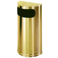 Rubbermaid FGSO8SBSPL Metallic Half Round Satin Brass Stainless Steel Waste Receptacle with Rigid Plastic Liner 9 Gallon