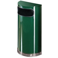 Rubbermaid FGSO820PLEGN European Empire Green with Chrome Accents Half Round Steel Waste Receptacle with Rigid Plastic Liner 9 Gallon