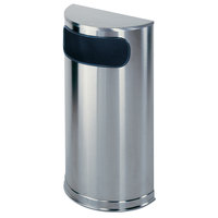 Rubbermaid FGSO8SSSPL Metallic Half Round Satin Stainless Steel Waste Receptacle with Rigid Plastic Liner 9 Gallon