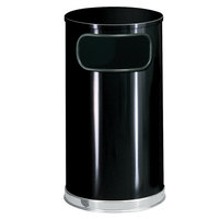 Rubbermaid FGSO1620GLBK European Black with Chrome Accents Round Steel Waste Receptacle with Galvanized Steel Liner 12 Gallon