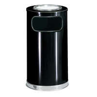 Rubbermaid FGSO16SU20GLBK European Black with Chrome Accents Round Steel Waste Receptacle with Galvanized Steel Liner and Sand Urn Cap Ash Tray 12 Gallon