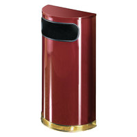 Rubbermaid FGSO810PLCR European Crimson with Brass Accents Half Round Steel Waste Receptacle with Rigid Plastic Liner 9 Gallon