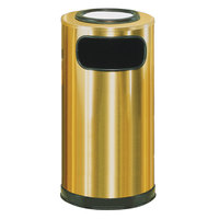 Rubbermaid SO16SU Metallic Round Satin Brass Stainless Steel Waste Receptacle with Galvanized Steel Liner and Sand Urn Cap Ash Tray 12 Gallon (FGSO16SUSBSGL)