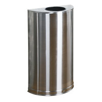 Rubbermaid FGSO12SSSPL Metallic Half Round Open Top Satin Stainless Steel Waste Receptacle with Rigid Plastic Liner 12 Gallon