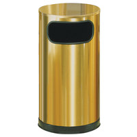 Rubbermaid FGSO16SBSGL Metallic Round Satin Brass Stainless Steel Waste Receptacle with Galvanized Steel Liner 12 Gallon