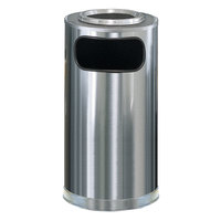 Rubbermaid FGSO16SUSSSGL Metallic Round Satin Stainless Steel Waste Receptacle with Galvanized Steel Liner and Sand Urn Cap Ash Tray 12 Gallon