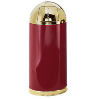 Rubbermaid R1536 European Crimson with Brass Accents Round Steel Waste Receptacle with Galvanized Steel Liner 15 Gallon (FGR153610GLCR)