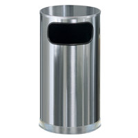 Rubbermaid FGSO16SSSGL Metallic Round Satin Stainless Steel Waste Receptacle with Galvanized Steel Liner 12 Gallon