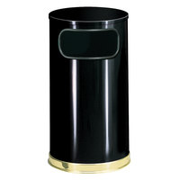 Rubbermaid FGSO1610GLBK European Black with Brass Accents Round Steel Waste Receptacle with Galvanized Steel Liner 12 Gallon