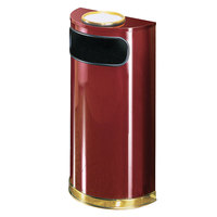 Rubbermaid FGSO8SU10PLCR European Crimson with Brass Accents Half Round Steel Waste Receptacle with Rigid Plastic Liner and Sand Urn Cap Ash Tray 9 Gallon