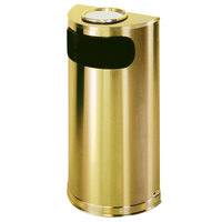 Rubbermaid FGSO8SUSBSPL Metallic Half Round Satin Brass Stainless Steel Waste Receptacle with Rigid Plastic Liner and Sand Urn Cap Ash Tray 9 Gallon