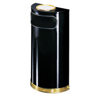 Rubbermaid SO8SU European Black with Brass Accents Half Round Steel Waste Receptacle with Rigid Plastic Liner and Sand Urn Cap Ash Tray 9 Gallon (FGSO8SU10PLBK)