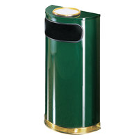Rubbermaid FGSO8SU10PLEGN European Empire Green with Brass Accents Half Round Steel Waste Receptacle with Rigid Plastic Liner and Sand Urn Cap Ash Tray 9 Gallon