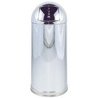 Rubbermaid R1536 Metallic Mirror Chrome Round Steel Waste Receptacle with Rigid Plastic Liner 15 Gallon (FGR1536MCPL)