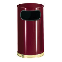 Rubbermaid FGSO1610GLCR European Crimson with Brass Accents Round Steel Waste Receptacle with Galvanized Steel Liner 12 Gallon
