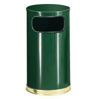 Rubbermaid FGSO1610GLEGN European Empire Green with Brass Accents Round Steel Waste Receptacle with Galvanized Steel Liner 12 Gallon