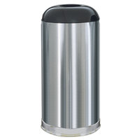 Rubbermaid FGR32SSSGL Metallic Round Open Top Satin Stainless Steel Waste Receptacle with Galvanized Steel Liner 15 Gallon