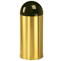 Rubbermaid FGR1536SBSGL Metallic Round Satin Brass Stainless Steel Waste Receptacle with Galvanized Steel Liner 15 Gallon