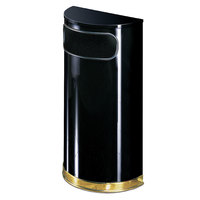 Rubbermaid FGSO810PLBK European Black with Brass Accents Half Round Steel Waste Receptacle with Rigid Plastic Liner 9 Gallon