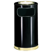 Rubbermaid FGSO16SU10GLBK European Black with Brass Accents Round Steel Waste Receptacle with Galvanized Steel Liner and Sand Urn Cap Ash Tray 12 Gallon