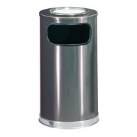Rubbermaid FGSO16SU20GLANT European Anthracite with Chrome Accents Round Steel Waste Receptacle with Galvanized Steel Liner and Sand Urn Cap Ash Tray 12 Gallon