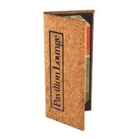 Menu Solutions CO620B-NC 5 1/2 inch x 11 inch Customizable Natural Cork 2 View Menu Cover