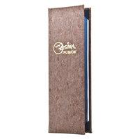 Menu Solutions CO620BD-DB 4 1/4 inch x 14 inch Customizable Dark Cork 2 View Menu Cover