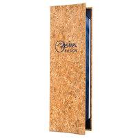 Menu Solutions CO620BD-NC 4 1/4 inch x 14 inch Customizable Natural Cork 2 View Menu Cover