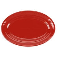 Tuxton CQH-096 Concentrix 9 3/4 inch x 6 1/2 inch Cayenne Oval China Platter - 24/Case