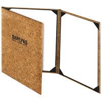 Menu Solutions CO630BD-NC 4 1/4 inch x 14 inch Customizable Natural Cork Continuous 3 View Menu Cover
