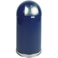 Rubbermaid FGR1530EPLCOB Round-Tops Cobalt Blue Round Steel Waste Receptacle with Rigid Plastic Liner 12 Gallon