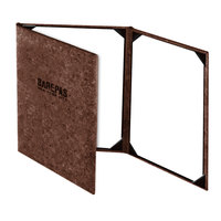 Menu Solutions CO630BD-DB 4 1/4 inch x 14 inch Customizable Dark Cork Continuous 3 View Menu Cover