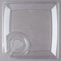 WNA Comet MSCTL 8 inch Clear Square Milan Plastic Cocktail Plate with Cup Holder   - 12/Pack