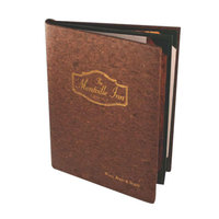 Menu Solutions CO630A-DB 5 1/2 inch x 8 1/2 inch Customizable Dark Cork Continuous 3 View Menu Cover