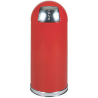 Rubbermaid FGR1536EPLRD Round-Tops Red with Chrome Accents Steel Waste Receptacle with Rigid Plastic Liner 15 Gallon