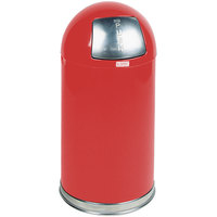 Rubbermaid FGR1530EPLRD Round-Tops Red Round Steel Waste Receptacle with Rigid Plastic Liner 12 Gallon