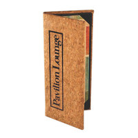 Menu Solutions CO630B-NC 5 1/2 inch x 11 inch Customizable Natural Cork Continuous 3 View Menu Cover