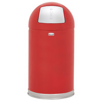 Rubbermaid FGR1530EGLRD Round-Tops Red Round Steel Waste Receptacle with Galvanized Steel Liner 12 Gallon