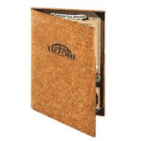 Menu Solutions CO620D-NC 8 1/2 inch x 14 inch Customizable Natural Cork 2 View Menu Cover