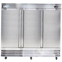 """Avantco CFD-3FF 81"""" Three Section Solid Door Reach in Freezer"""